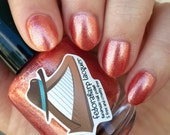 Fireside (mini size & full size)- Orange golden micro flakie indie polish by Fedoraharp Lacquer