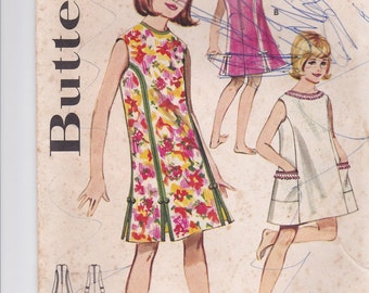 1960's Sewing Pattern - Butterick 3090 Girls Beach Dress/Skimmer Size 6 used and complete