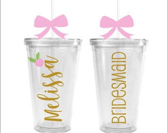 Wedding Party Tumbler Bridesmaid Maid of Honor Flower Girl Cup Floral Wedding Cup Personalized Wedding Party Gift Name Rustic Wedding Floral
