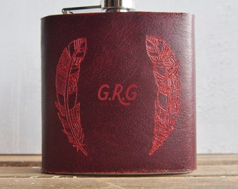 Initialled Feather Hip Flask, red leather, customised leather flask, Genuine Leather goods, bridesmaid gift, gifts for her