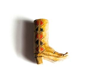 Vintage folk art carved wood cowboy boot signed painted handmade