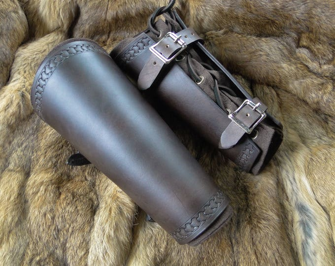 Renaissance Leather Bracers - Viking Arm Guards, Medieval Armor Set - Dark Brown