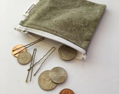 Gifts Under 10 - Green Chambray Mini Zipper Bag- Coin Purse