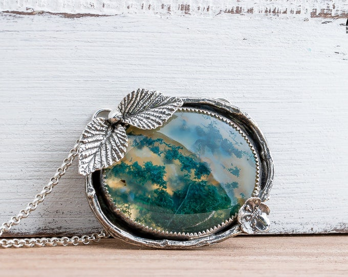 Green Moss Agate Gemstone Necklace in Sterling Silver with Leaves Flowers and Twigs