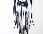 The Raven Dreamcatcher - Red Modern Leather Dream Catcher, Feathers, Crystal Moonstone, Boho Bedroom Decor, Housewarming Gift, Meditation