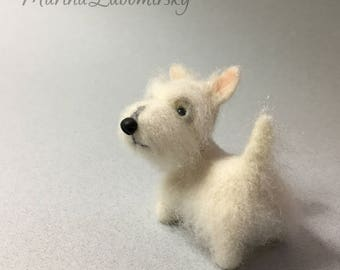 Wheaten Scottish Terrier, Needle Felted Dog, White Puppy Custom Order Only by Marina Lubomirsky