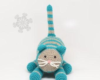Teal Blue & Gray Crochet Cat - Eco Friendly - Toy Kitty Cat
