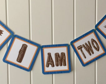 BOY CAMPING THEME First or Second Birthday I Am One or I Am Two Highchair Banner - Party Packs Available