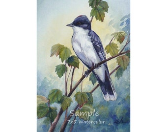 Custom bird watercolor painting, Unique commissioned wall art gift, Bird lover nature wall decor by Janet Zeh Original Art