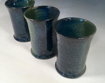 Ceramic Pint Cup-Handmade Ceramic Tumbler -Handmade pottery cup- 16 oz -  - Monet Blue Green - Ready to Ship- ceramics - pottery - stoneware