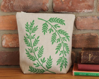 Large linen zipper pouch, fern in green, block print, yellow lining