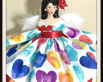 Latina Angel, Angel Tree Topper, Mother's Day Gift, Hispanic Angel, Dark Haired OOAK Handmade Angel, Latina Doll, Hispanic Doll