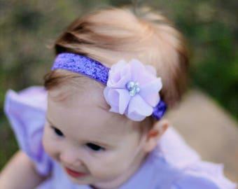 Purple Baby Headband - Glitter - Lavender Pearl Rhinestones - Newborn Baby Infant- Photo Prop