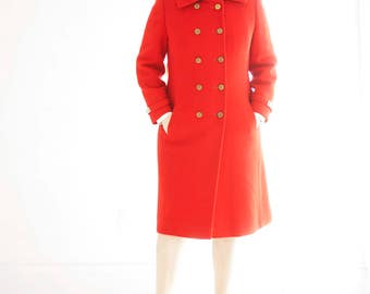 Vintage red 1960s pea coat, wool double-breasted tailored collar, mod, S