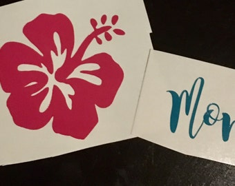 FREE SHIPPING! Custom Hibiscus Personalized Decal - car decal - tumbler decal
