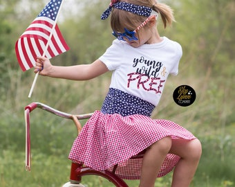 Patriotic Young Wild & Free Stars Stripes Embroidered Applique Shirt or Bodysuit Toddler, Unisex
