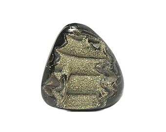 Fossil Ammonite Golden Pyrite Druzy in Polished Natural Organic Gem Stone Shell from Volga River, Russia Primeval Gemstone DIY Geo Jewel