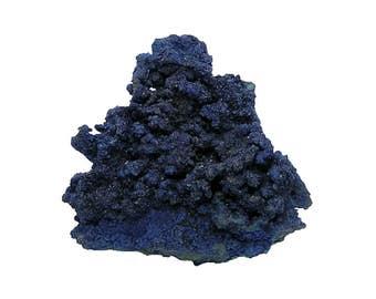 Azurite Large Blue Crystalline Druzy with green Malachite Mineral Specimen Copper Mine Stone Bisbee Arizona from an estate collection