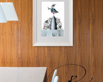 Floral Birds at coffee time-Fine Art Print- floral birds illustration glicee print, modern drawing minimal flowers color by Cristina Ripper