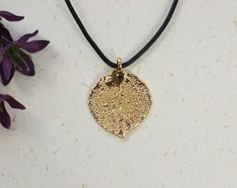 SALE Leaf Necklace, Gold Aspen Leaf, Real Aspen Leaf Necklace, Gold Leaf, Gold Leaf Pendant,SALE29