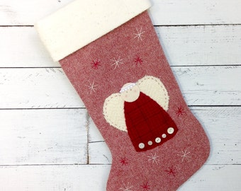 Personalized Christmas Stocking, Family Christmas Stockings, Rustic Christmas Stocking, Christmas Angel Stocking, Christmas Decorations