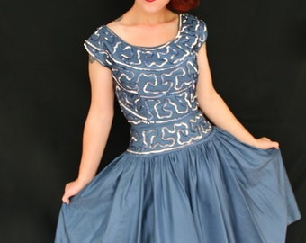 Gorgeous 1950s Blue Sequin Taffeta Cocktail Dress Size XSMALL/SMALL