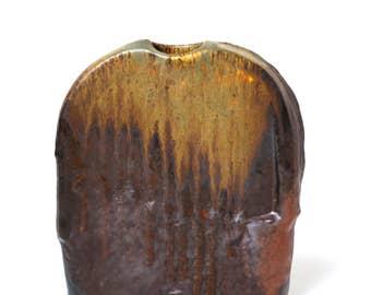 Steuler Keramik vase Objekt Heiner Balzar 1980s, Fat Lava West German pottery sculptural vase, brutalist modernist Schaffenacker style