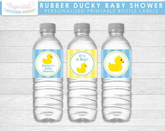 Rubber Ducky Theme Baby Shower Water Bottle Labels Blue Yellow
