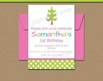 Christmas Birthday Invitation - PRINTABLE Holiday Birthday Party Invite - Girl Christmas Invitation - First Christmas - 1st Christmas C1
