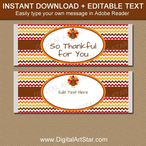 PRINTABLE Thanksgiving Candy Bar Wrappers - EDITABLE ...