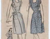 """1940's Advance One-Piece Dress with Tied Waist and Pockets Pattern - Bust 33"""" - No. 6616"""