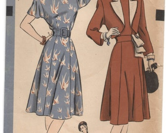 1940's Hollywood One-Piece Dress with Flutter sleeves and Bolero jacket Pattern - Bust 32 - No. 1781