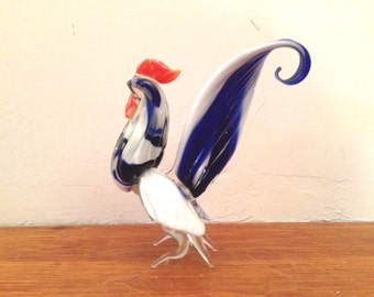 Vintage ART GLASS ROOSTER Murano Blue and White Blown Glass Chicken Figurine