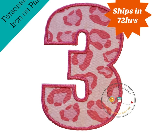 Large pink cheetah print number 3- iron embroidered fabric applique patch embellishment- ready to ship