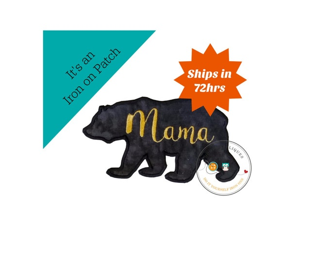 Mama bear silhouette iron on applique-large black bear with gold script Mama machine embroidered fabric patch-DIY boutique fashions