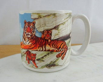 Vintage Bengal Tiger Mug  |  Coffee Tea Cup | Potpourri Press 1991
