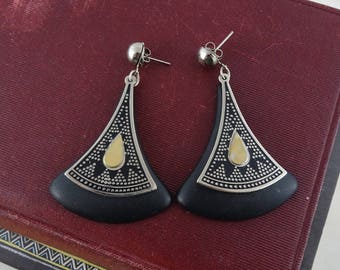 Vintage 1980's Retro Tribal Triangle Earrings, Triangle Earrings, Black, Silver & Gold Earrings,