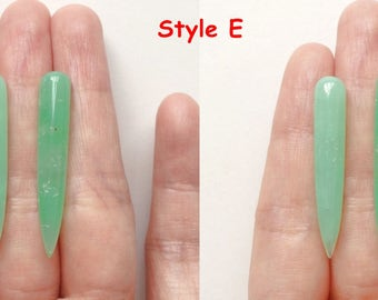 Natural Organic Green Chrysoprase Smooth Long Spike Icicle Drops 6x35 mm with inclusions One pair G5997