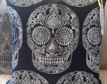 Black and white hand block printed Sugar Skull cushion cover