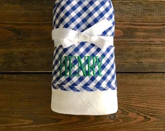Blue Gingham Hooded Towel