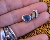 Kyanite stud earrings, blue stone, kyanite earring