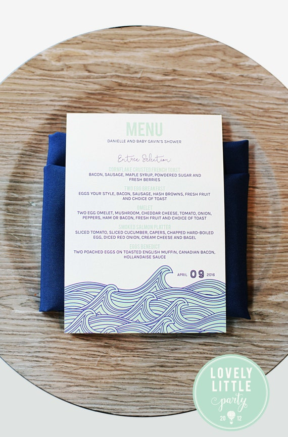 Modern Waves baby shower menu, nautical shower menu, beach baby shower menu,  shower, wedding, baptism MENU - Lovely Little Party