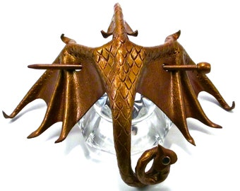 Bronze Leather Dragon Stick Barrette, Metallic Bronze-colored Leather Dragon Hair Stick, Amphiptere Hair Slide  (Large) (B134)