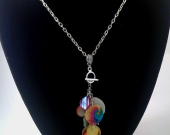 Rainbow Pendant, Interchangeable Pendant, Silver Pendant, Colorful Pendant, Silver Necklace, Charm Necklace, Interchangeable, Tassel Jewelry