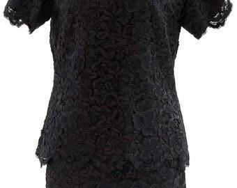 Petite Suit, Elegant 50s Suit, Black Suit, Beautiful Pattern, Flowers & Ribbons Pattern, Polyester and Silk, Vintage Suit, Cocktail Suit