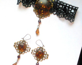 Black lace goth, victorian, steampunk choker with brown, orange resin pendant, glass beads.