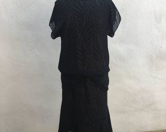 Vintage black dress 1990 hip waist Geary Roark Kamisato sz S/M
