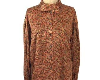 vintage 1980s ESCADA paisley blouse / silk / button front blouse / oversize blouse / women's vintage blouse / tag size 38