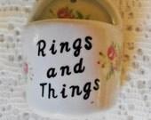 Vintage China Ring Holder, Rings and Things, Hanging Ring Box, 1970's Bone China Ring Dish, Jewelry Holder