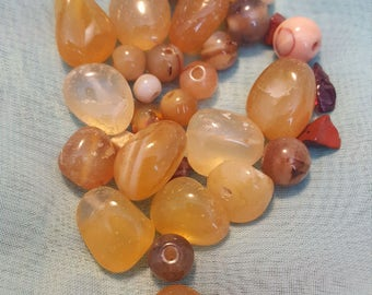 Mix Stones, Brown, Semi Precious, Amber, Agate, Orange, Drilled